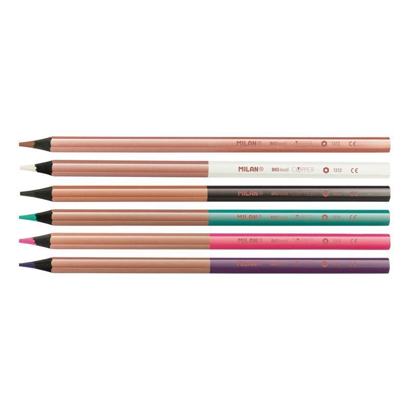 Caja 6 lápices de colores mina gruesa Copper