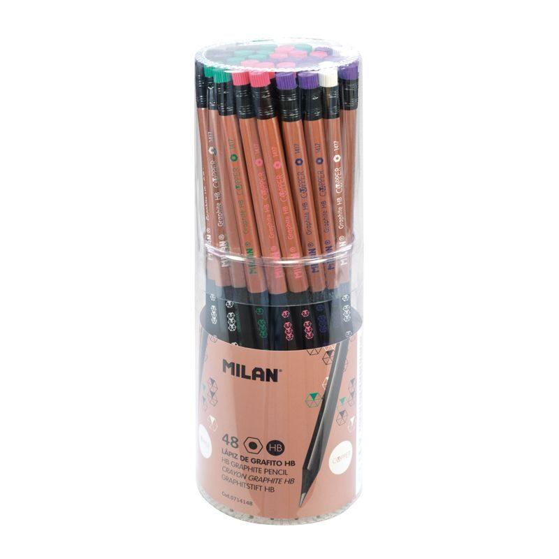 Bote 48 lápices de grafito HB hexagonales con goma Copper