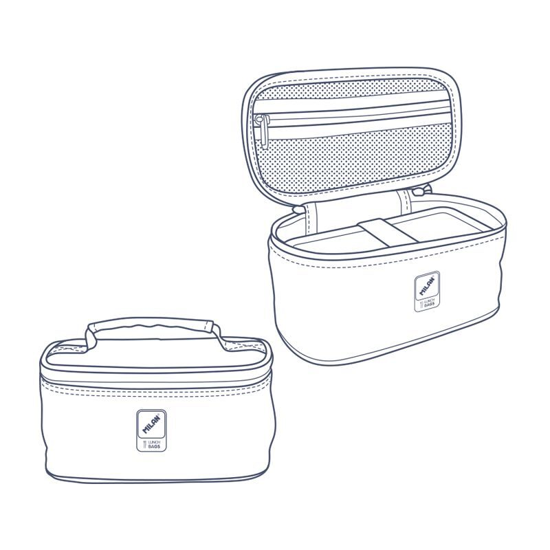 Bolsa isotérmica porta alimentos pequeña con 1 recipiente Terrazzo Green , verde y rosa