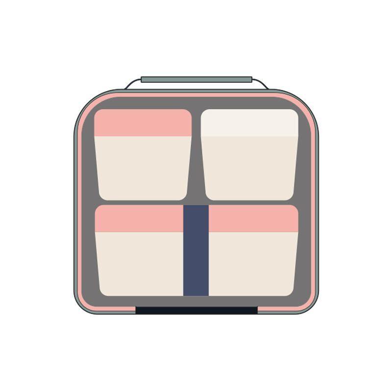Bolsa isotérmica porta alimentos con recipientes Terrazzo Green, verde y rosa