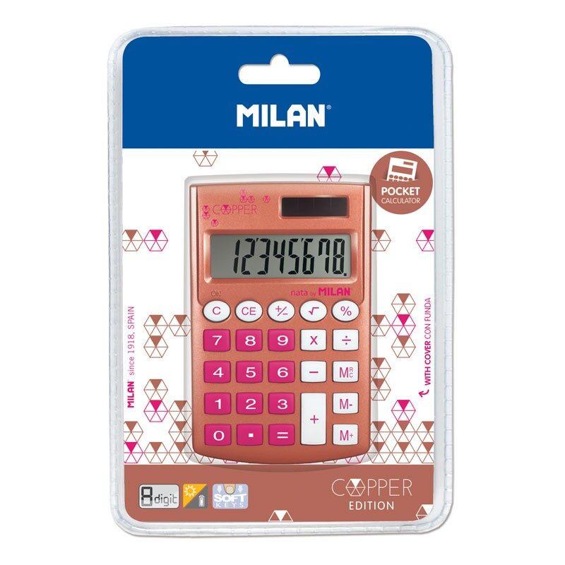 *Blíster calculadora 8 dígitos Pocket Copper rosa