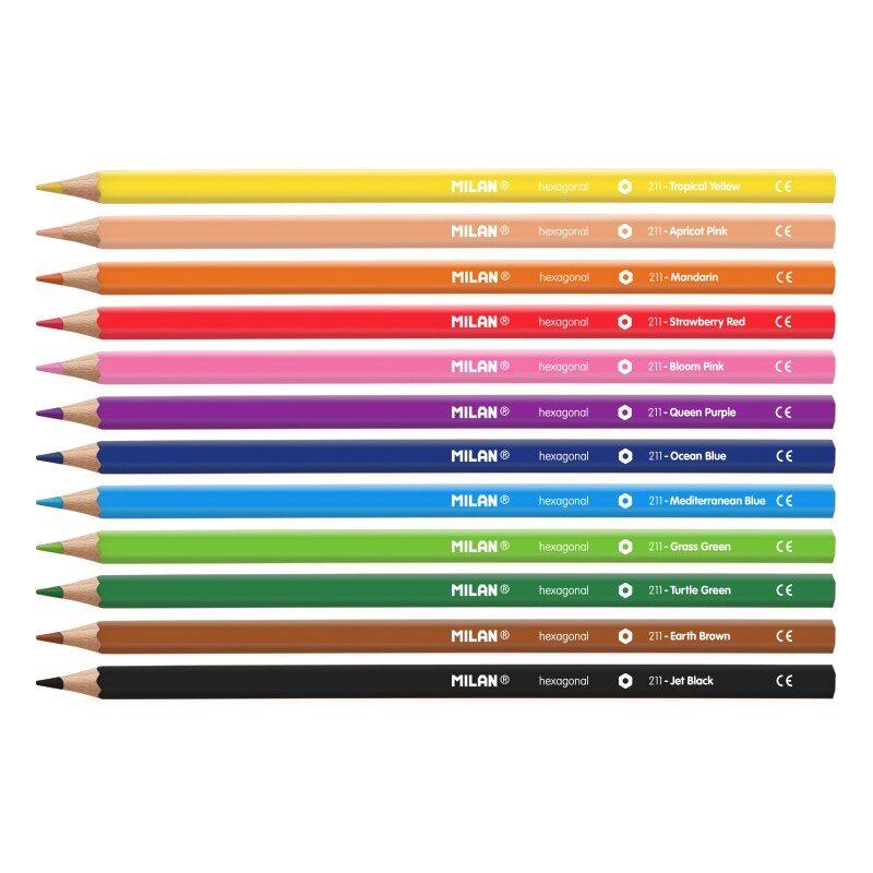 Caja 12 lápices de colores hexagonales