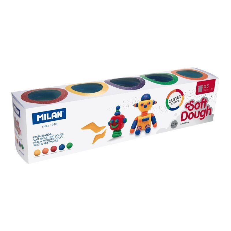 Caja 5 botes pasta de modelar blanda Soft Dough Glitter