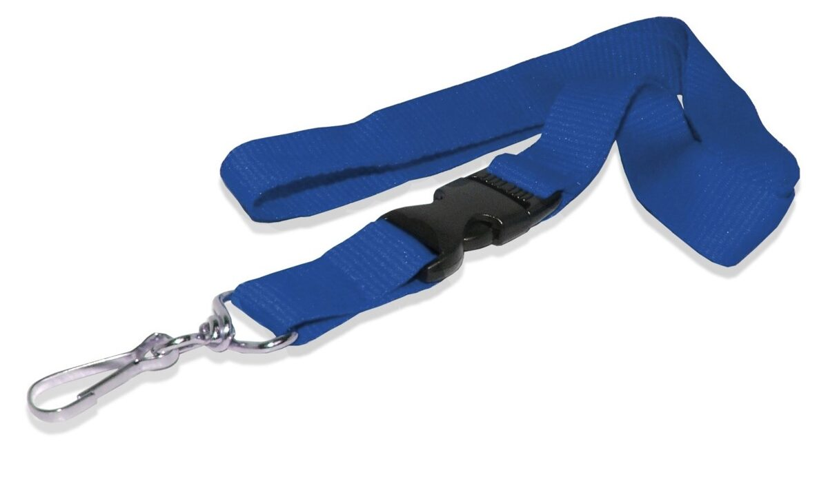 Cordón para gafete plano con broche y gancho giratorio color azul