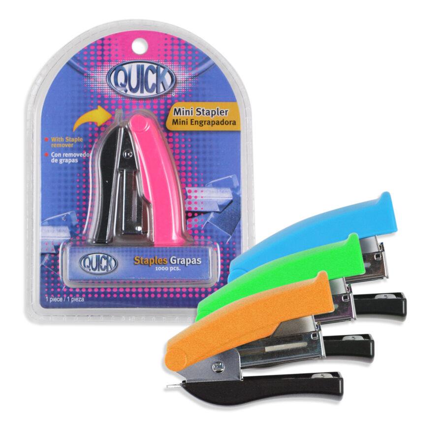 Blíster Engrapadora mini con 1000 grapas 26/6 colores surtidos