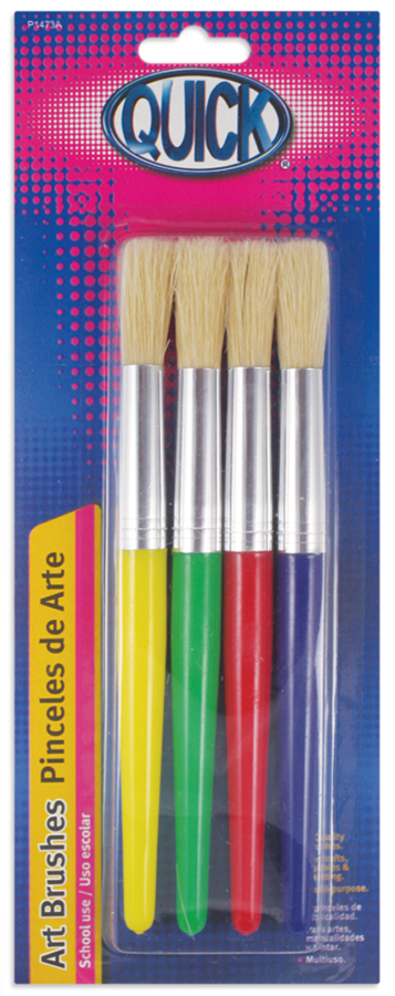 Pinceles escolares jumbo plástico colores surtidos c/4 piezas.