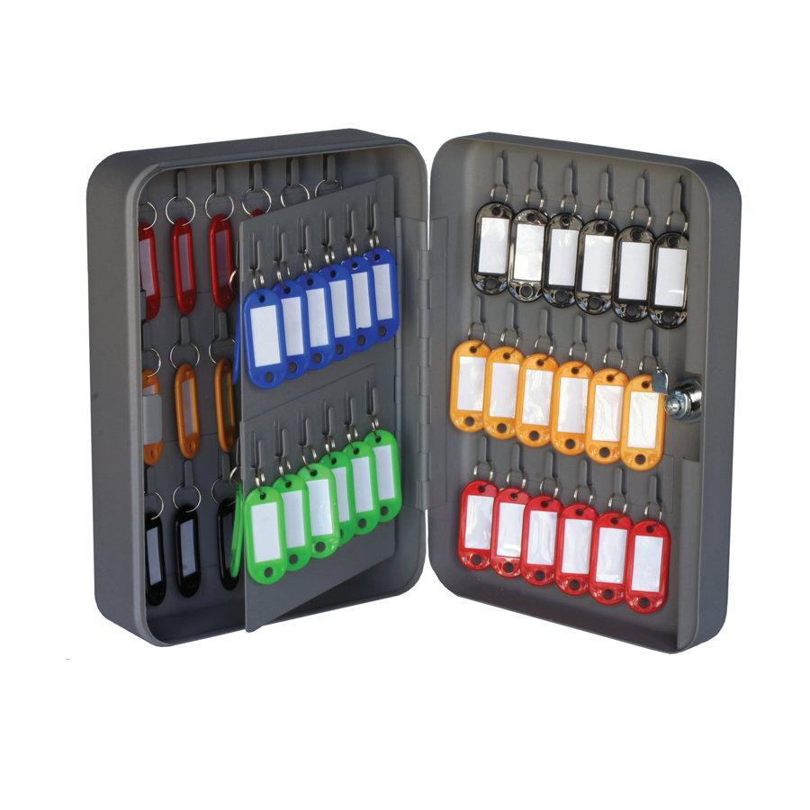 Caja para llaves con 60 llaveros de colores