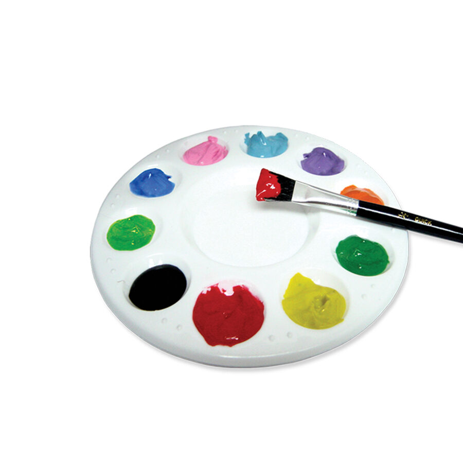 Paleta plástica para pintura redonda.