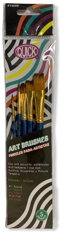 Pinceles para arte madera color azul blister c/5 piezas