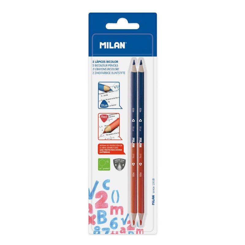 Blíster 2 lápices bicolor azul-rojo triangulares