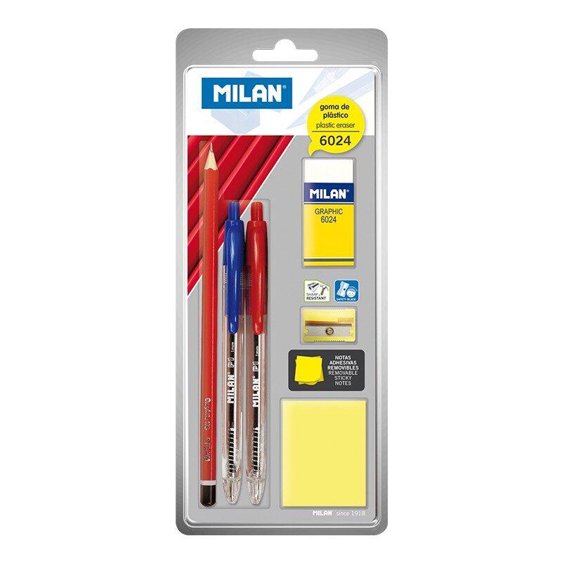 Blíster 2 bolígrafos P1, lápiz de grafito, goma 6024, sacapuntas y bloc de notas adhesivas