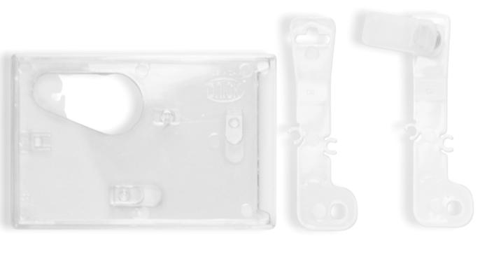 Porta identificación en acrílico transparente de 2 posiciones